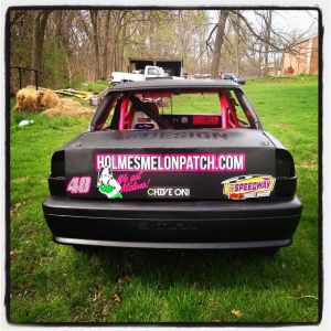 Holmes Melon Patch ad on Byfield Racing Car